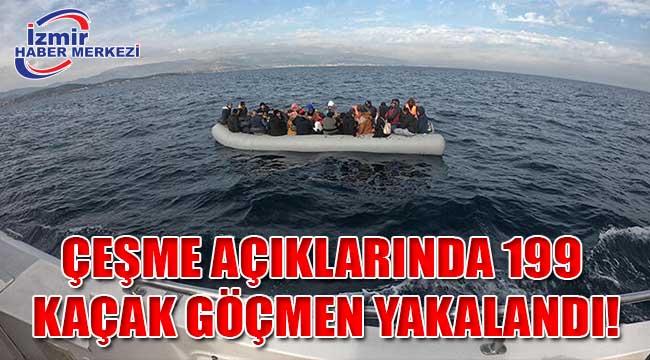 Çeşme açıklarında 199 kaçak göçmen yakalandı!